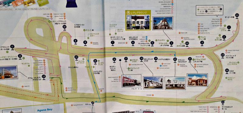 グアムのバス停マップ